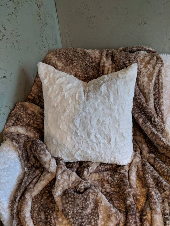 Ivory Faux Rabbit Fur Pillow Covers - All Sizes Available Including Body Pillow, Standard, King and Euro Shams
