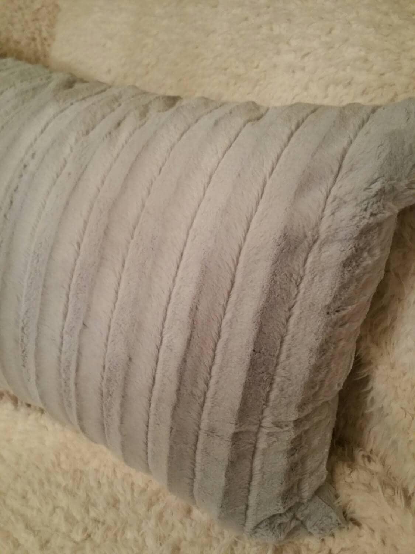 Grey Faux Mink Fur Pillow Shams In King Queen Standard