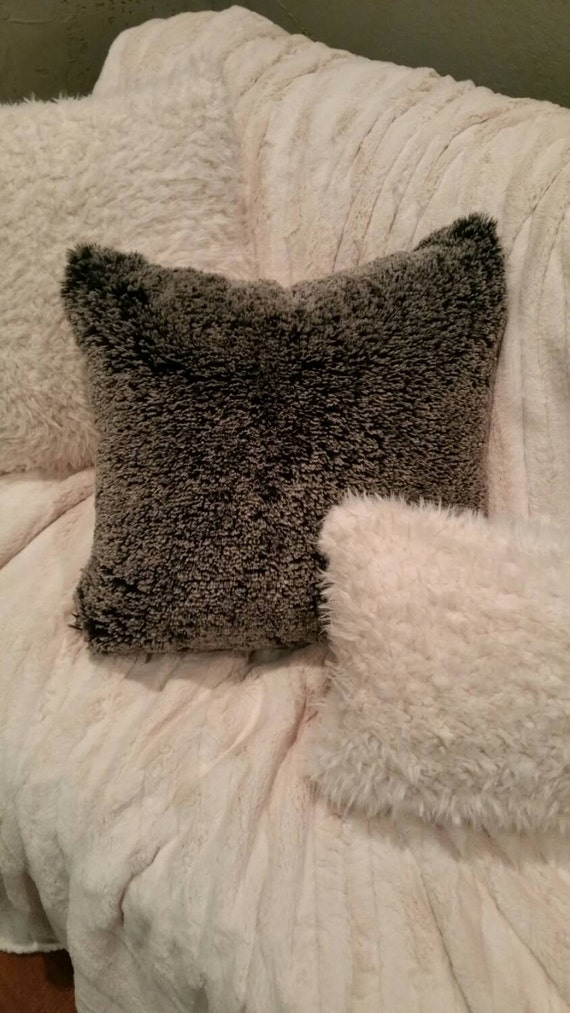 Black Faux Alpaca Fur Pillow Covers with Ivory Frosted Tips - You Choose the Size including Body Pillow