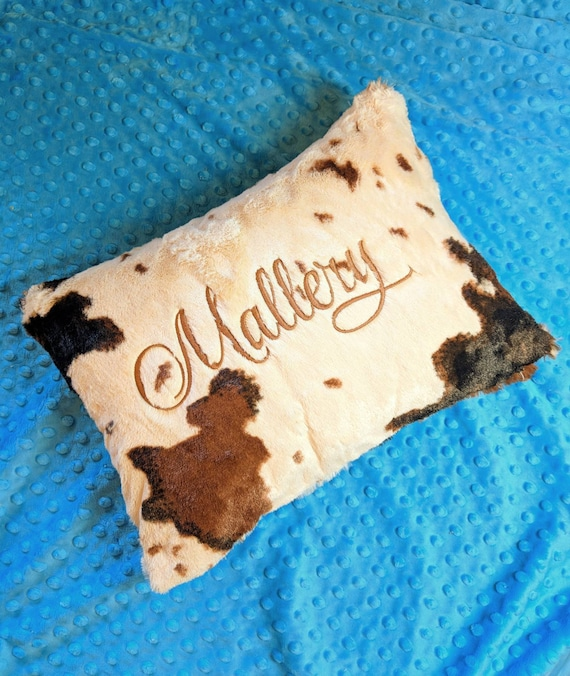 Rustic Personalized Cow Print Pillow in Beige, Brown and White Minky Cowhide for Travel Pillow, Toddler Pillow, Decorative Pillow