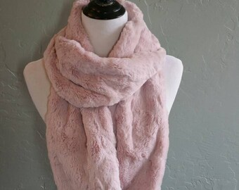 Pretty in Blush Pink Faux Rabbit Fur Infinity Scarf or Open Ended Scarf