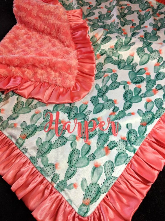 Cactus Print Double Minky Blanket with Satin Ruffle Trim Embroidered Name Coral Green & White Nap Set Gift Set Lovie Blanket Doll Blanket