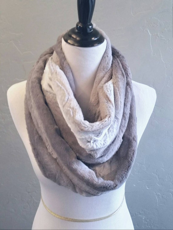 Kitten Soft Faux Chinchilla Fur Scarf in Shades of Gray and Ivory, Grey Faux Fur Infinity Scarf, Winter Scarf, Gift, Stocking Stuffer