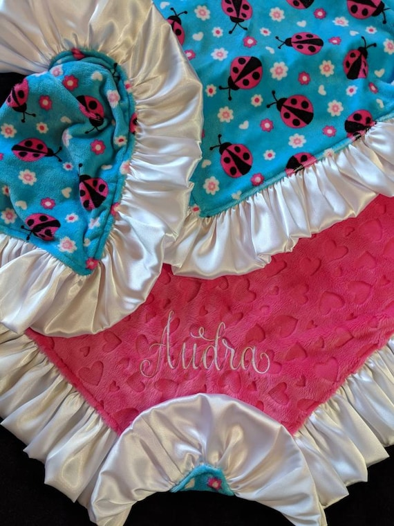 Last One! Lady Bug, Heart and Floral Pattern Minky Blanket with Embroidered Name Personalization and Satin Ruffle Turquoise, Hot Pink, White