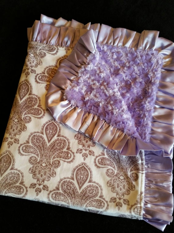 Fleur de Lis Minky Blanket with Lavender Rosebud Minky and Satin Ruffle Trim