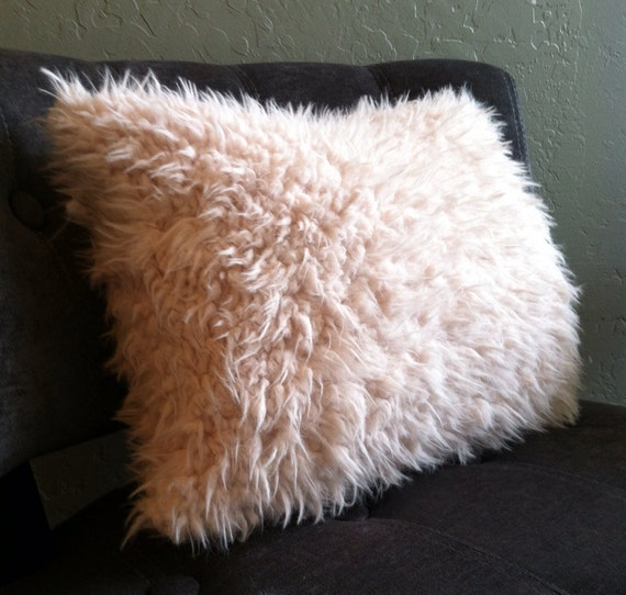 Ivory Faux Llama or Yak Fur Pillow Covers - Custom Made - You pick the size