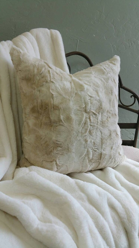 Ivory and Brown Faux Rabbit Fur Pillow Covers - All Sizes Available Including Body Pillow, Standard, King and Euro Shams