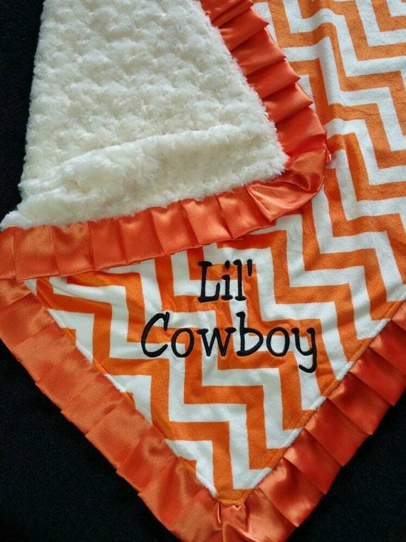 Orange and Cream Chevron Minky Blanket Oklahoma State OSU with Satin Ruffle Trim and Embroidery