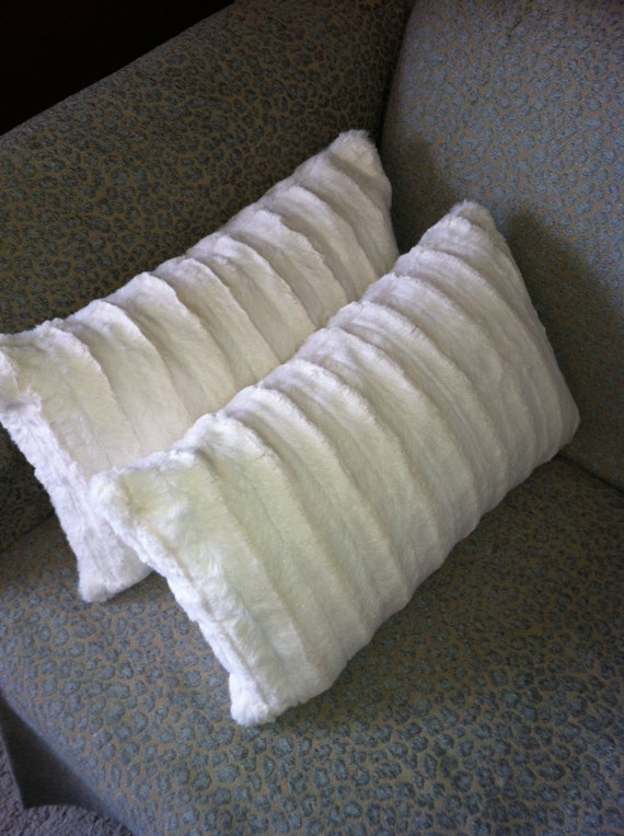 All Sizes Available Ivory Faux Mink Pillow Covers - Body Pillow, Euro Sham, Standard and King Sham, Vegan Fur