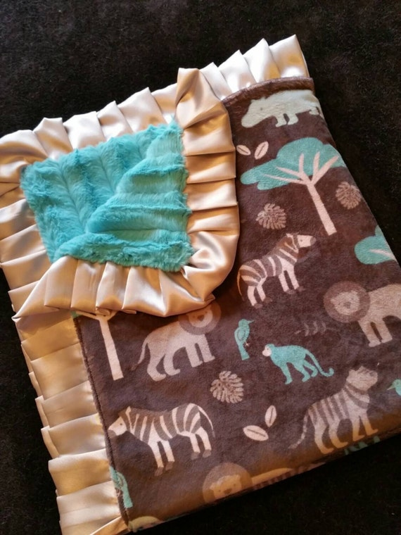 Jungle Safari Minky with Turquoise Faux Mink and Silver Satin Blanket