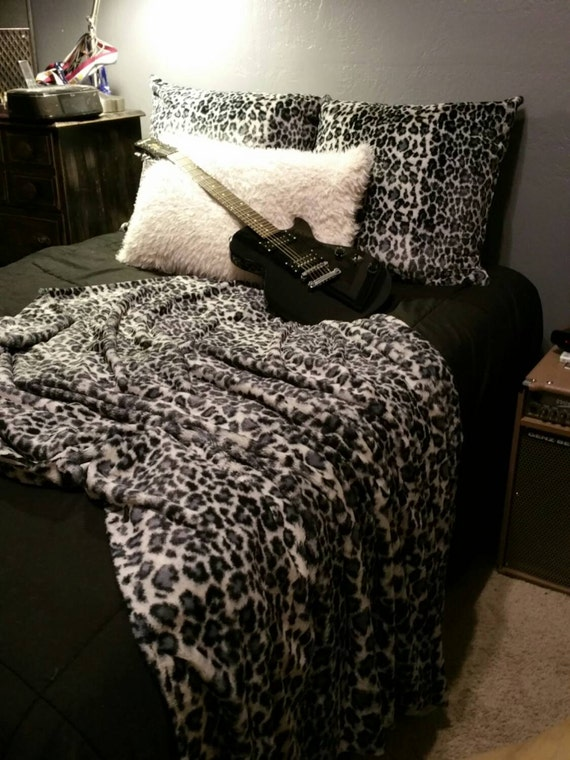 Leopard Faux Fur Throw Blanket in Black, and Gray Adult Size Blanket