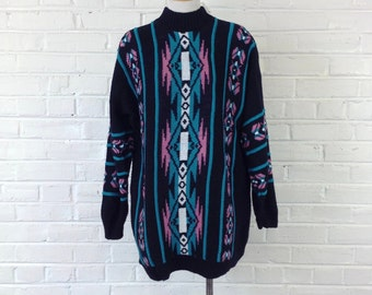 13ed5106140b6 90's Vintage Oversized Southwestern Geometric Mock Neck Sweater / Size S-XL