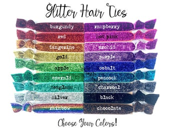 SALE Pack of 10 Glitter Hair Tie Favors Silver Gold Sparkle Discounted Elastic Ties Bachelorette Party Hair Ties Bridesmaid Gift Box