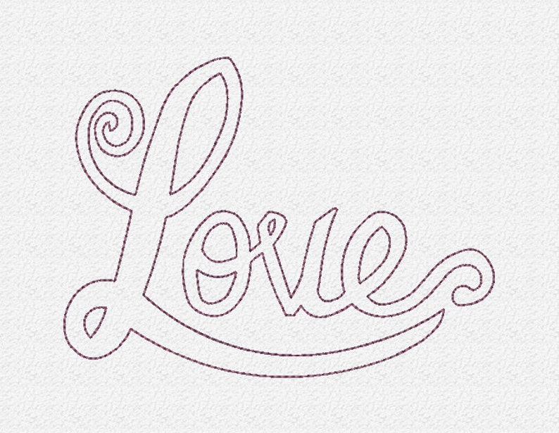 Love Outline Embroidery Design Instant Download