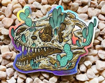 Dinosaur Cactus Holographic Sticker