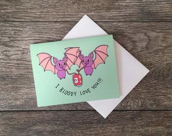 Bloody Bat Love Greeting Card