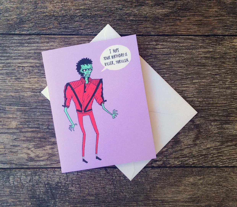 Zombie michael jackson thriller birthday card etsy zoom m4hsunfo