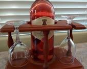 Wood Wine rack, Vintage Mid Century Genuine teak wood wine bottle 4 glasses caddy holder - Bar Kitchen dinning cabinet display