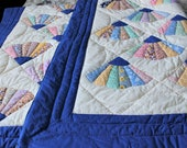 Handmade patchwork cotton quilt 72x85, Vintage wall hanging fan pattern blanket, blue white yellow twin full bedspread