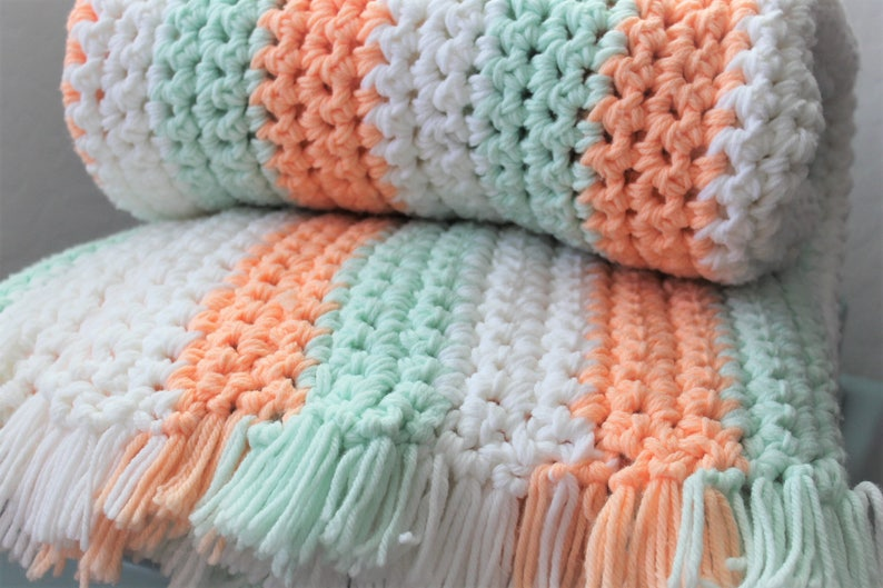 Handmade Stripped Baby Blanket Rug Knitted Yarn Crochet Thick Lap Cover Throw Afghan Spring Mint Green Orange Peach Chunky Knit 66x47