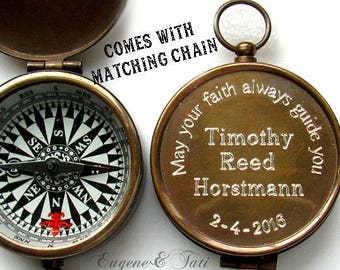 Confirmation Boy Gift, Engraved Working Compass, Unique Confirmation Gift, Personalized Custom Godfather Gift, Catholic Gift, Custom Compass