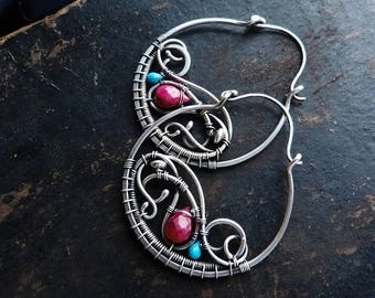 Hoop silver earrings with ruby and turquoise - wire wrapped jewelry - Large boho earrings Anniversary gift for women