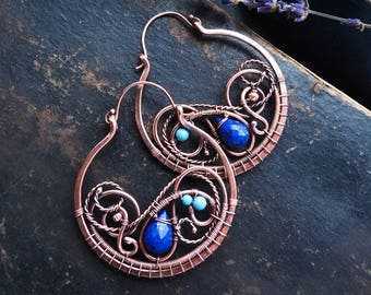 Hoop earrings with lapis lazuli Copper large circle earrings wire wrapped jewelry -  Boho jewelry for women - Witch jewelry