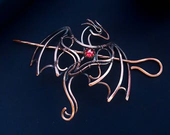 Dragon copper Hair pin -  Wire wrapped hair accessories - Mother of dragons - Gift for women - Cosplay accessories