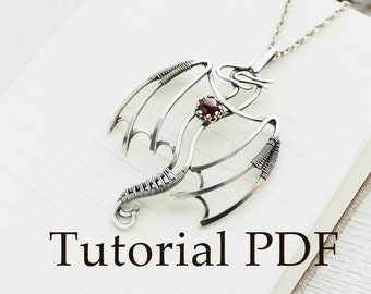 Silversmith necklace tutorial - Silver Dragon pendant - Silver soldering - PDF file - cabochon setting - Tutorial jewelry DIY project