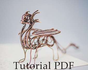 Tutorial DIY project - PDF Tutorial wire wrapped sculpture Dragon - Wire copper soldering