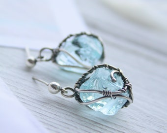 Raw crystal silver earrings Anniversary gift for women  Wedding earrings - Bohemian style jewelry