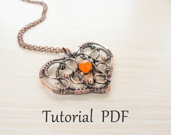 Jewelry tutorial DIY project - PDF Tutorial - wire wrapped necklace - copper soldering