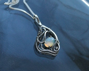 Ethiopian opal silver pendant - wire wrapped pendant - opal necklace - birthday gift