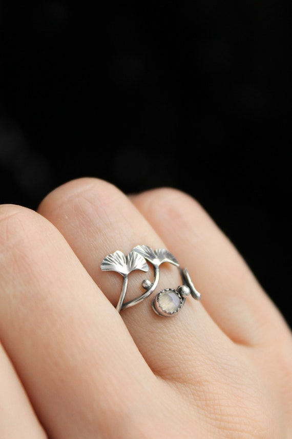 Armenian jewelry for teens Handcrafted rings large adjustable leaf design ring Sterling silver statement ring for woman
