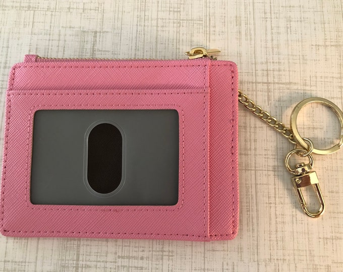 Pink Card Case Slim Wallet with Key Chain