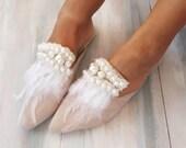 Wedding Sandals, Wedding Shoes, Mules, Bridal Sandals, Wedding, Feather Sandals, Pearl Sandals, Nude Sandals, Boho Sandals, quot Serenade quot