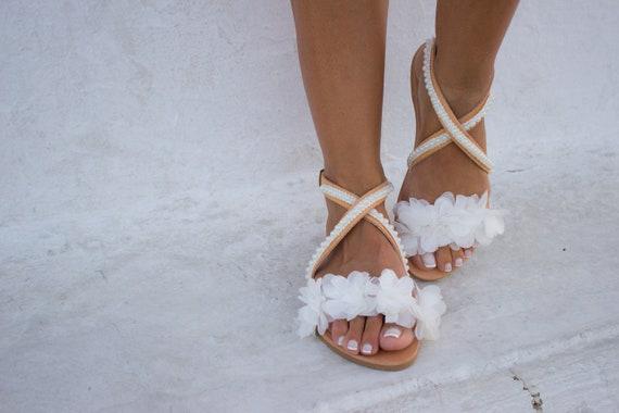 6f82f7cd1e727   Chiara   Sandals Sandals Sandals Boho Sandals RiRiPoM Bridal Pom Wedding  Sandals White    ...