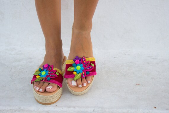 cdea852a8782e RiRiPoM Boho Sandals Gypsy Sandals Pom Pom Sandals Tribal