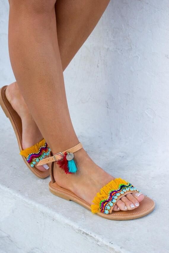 Pom Tribal sandales Pom en pompons RiRiPoM Boho sandales Gypsy de Inde pi Kuchi sandales frange en sandales sandales sandales ftRYwFqw