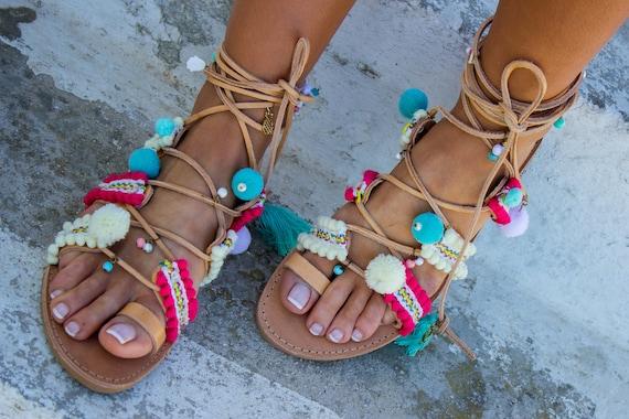 e21e41320e62e RiRiPoM Pom Pom Sandals Boho sandals Gypsy Sandals Tassels