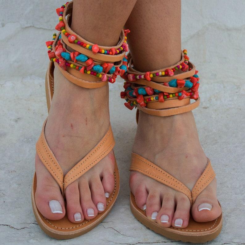 Pom Pom Sandals Anklet Sandals Semi Precious Stones Sandals Boho Sandals RiRiPoM /'/'Maui/'/' Beaded Sandals Tribal Sandals