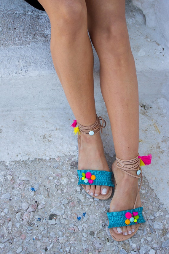 sandales Boho Turquoise sandales sandales sandales '' sandales Guadeloupe'' grecques Gypsy Pom Pom sandales RiRiPoM X6Rxx
