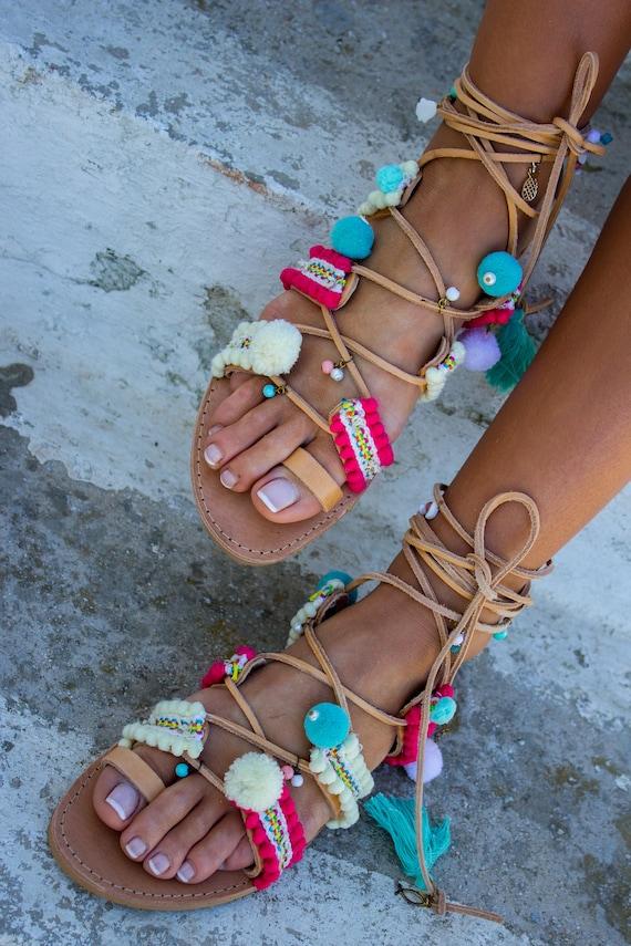 Tassels Boho Exotic ''Vanilla'' RiRiPoM Sandals sandals Greek Sandals Pineapple Gypsy Sandals Pom Chic Sandals Pom Boho Sandals AqwA1z0B