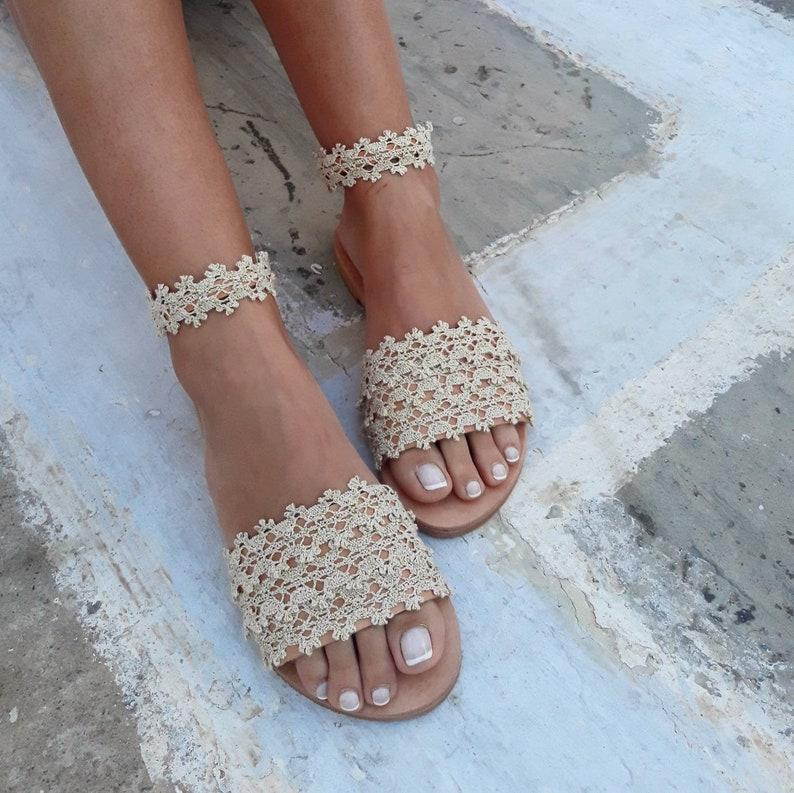 993bd3f2ffd21 RiRiPoM Boho Sandals Bridal Sandals Pom Pom Sandals Tribal