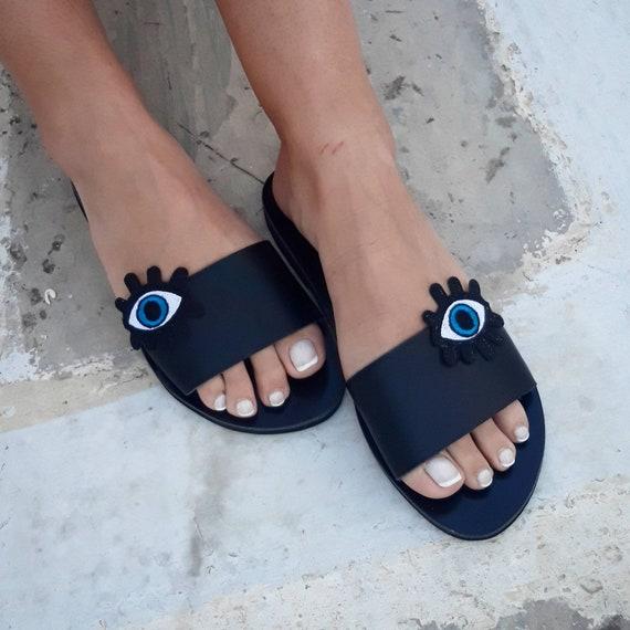Eye Sandals Sandals Sandals Minimal Sandals Boho Pom ''Karma'' Sandals Pom Gypsy Black Art RiRiPoM Evil Sandals Sandals Pop qRv6wt6