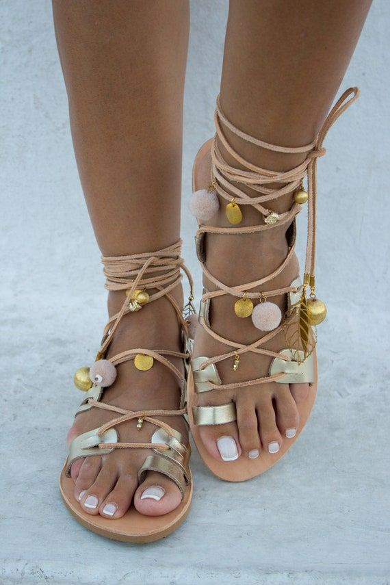 Gold Sandals Greek Sandals Sandals ''Bora Gypsy Boho Bridal Sandals Sandals Bora'' Gladiator Pom Sandals Pom Leather Sandals RiRiPoM zfqBS