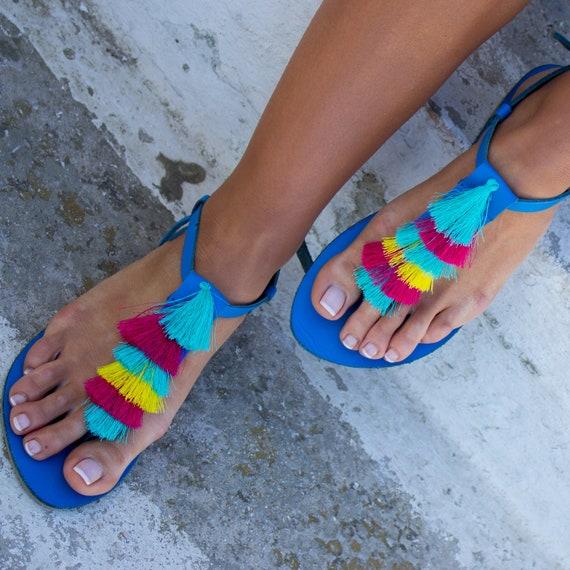 sandales en ciel grecques Gypsy sandales Pom Bali'' Pom Boho glands sandales sandales RiRiPoM franges sandales sandales sandales arc '' wq4OBWaXF
