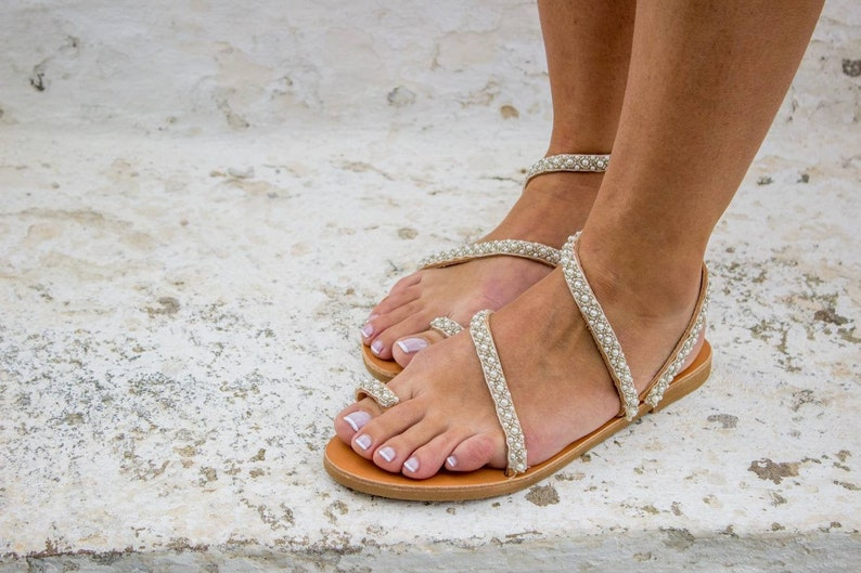 /'/'Jane/'/' Boho Sandals Wedding Shoes Pom Pom Sandals Greek Sandals Boho Wedding Wedding Sandals Pearl Sandals Bridal Sandals