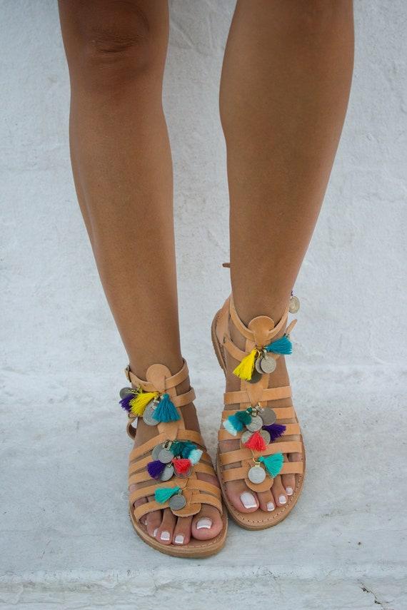 sandales Festival Gypsy pompons Boho sandales '' Pom sandales Pom sandales sandales Caron Fringe Tribal sandales en RiRiPoM sandales '' CZPAzq0x