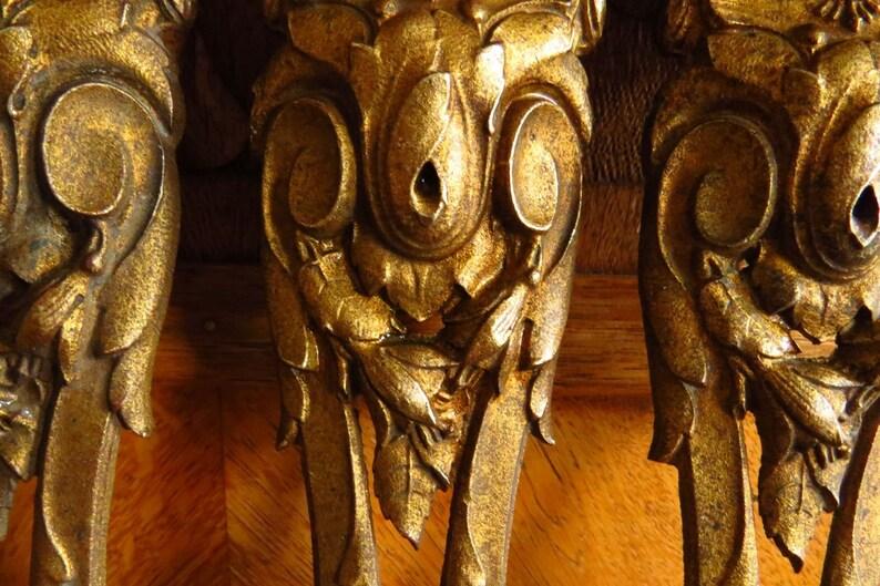 2  x 18th Century French Antique Solid Brass Copper Ormolou Furniture Escutcheon Mounts  Leg Cover Large decorative Ornament